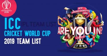 World Cup 2019 Team List
