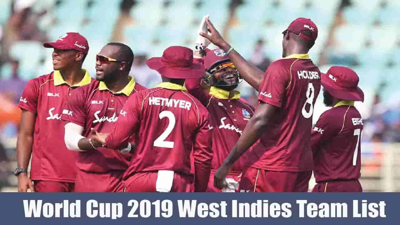 World cup 2019 West Indies Team List